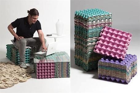 Recursos decorativos con hueveras: asiento