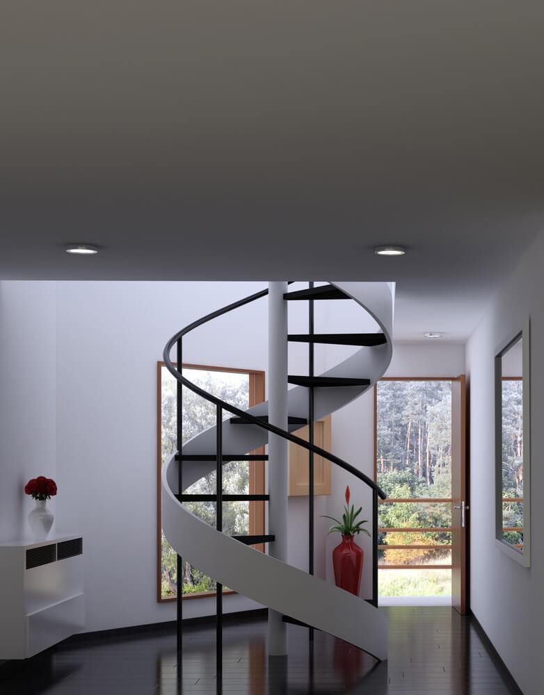 Planificar una escalera helicoidal en casa