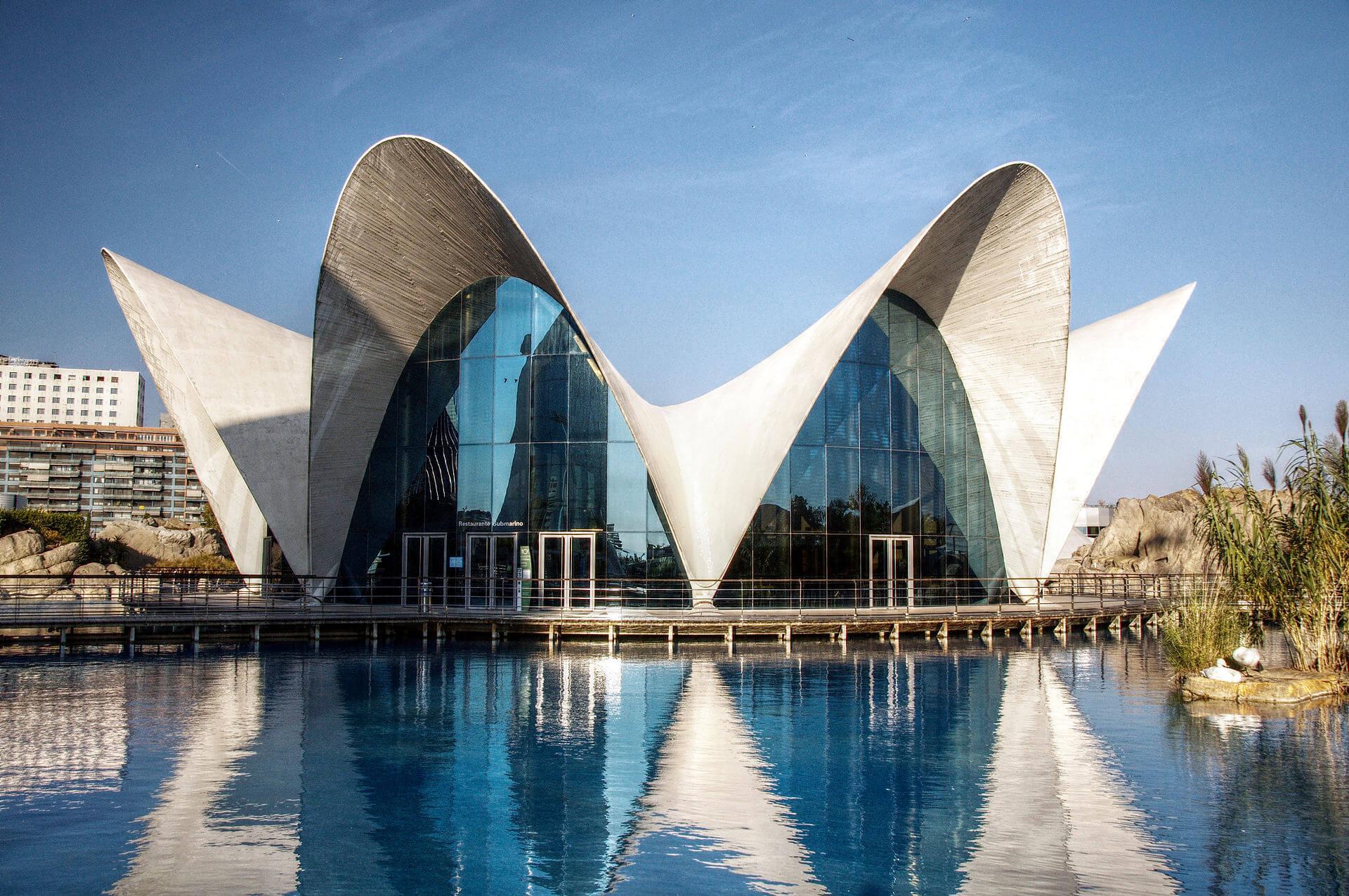 Vidrio reflectante en el Oceanografic de Valencia