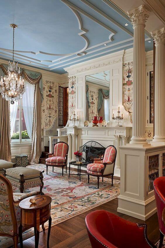 Casa decorada con el estilo victoriano