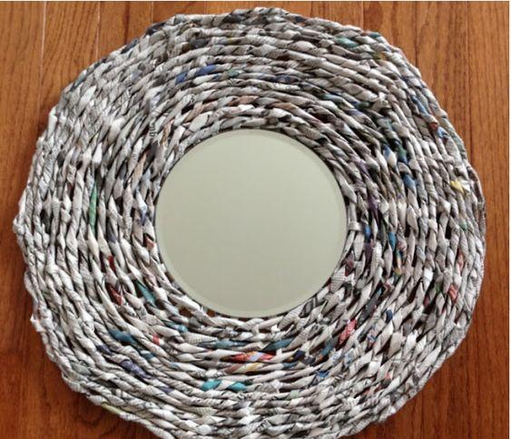 DIY espejo con marco de papel