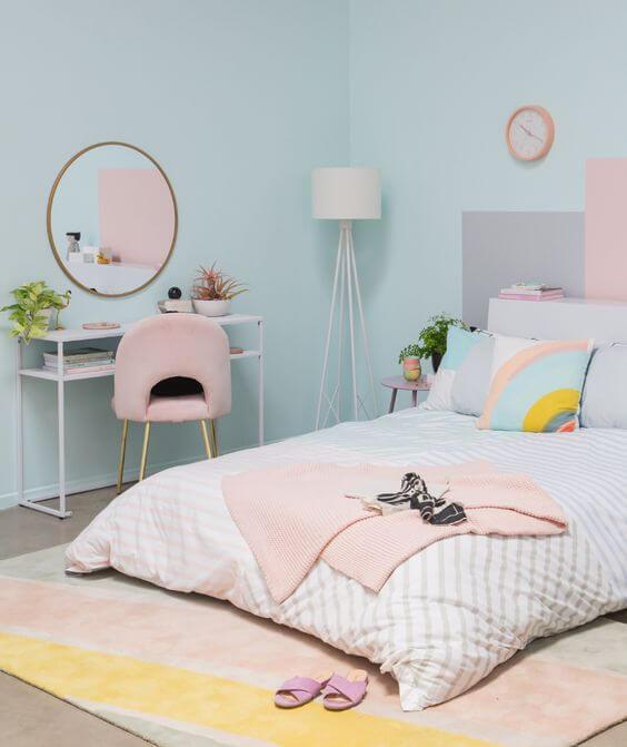 Dormitorio pastel para lograr luminosidad en los interiores