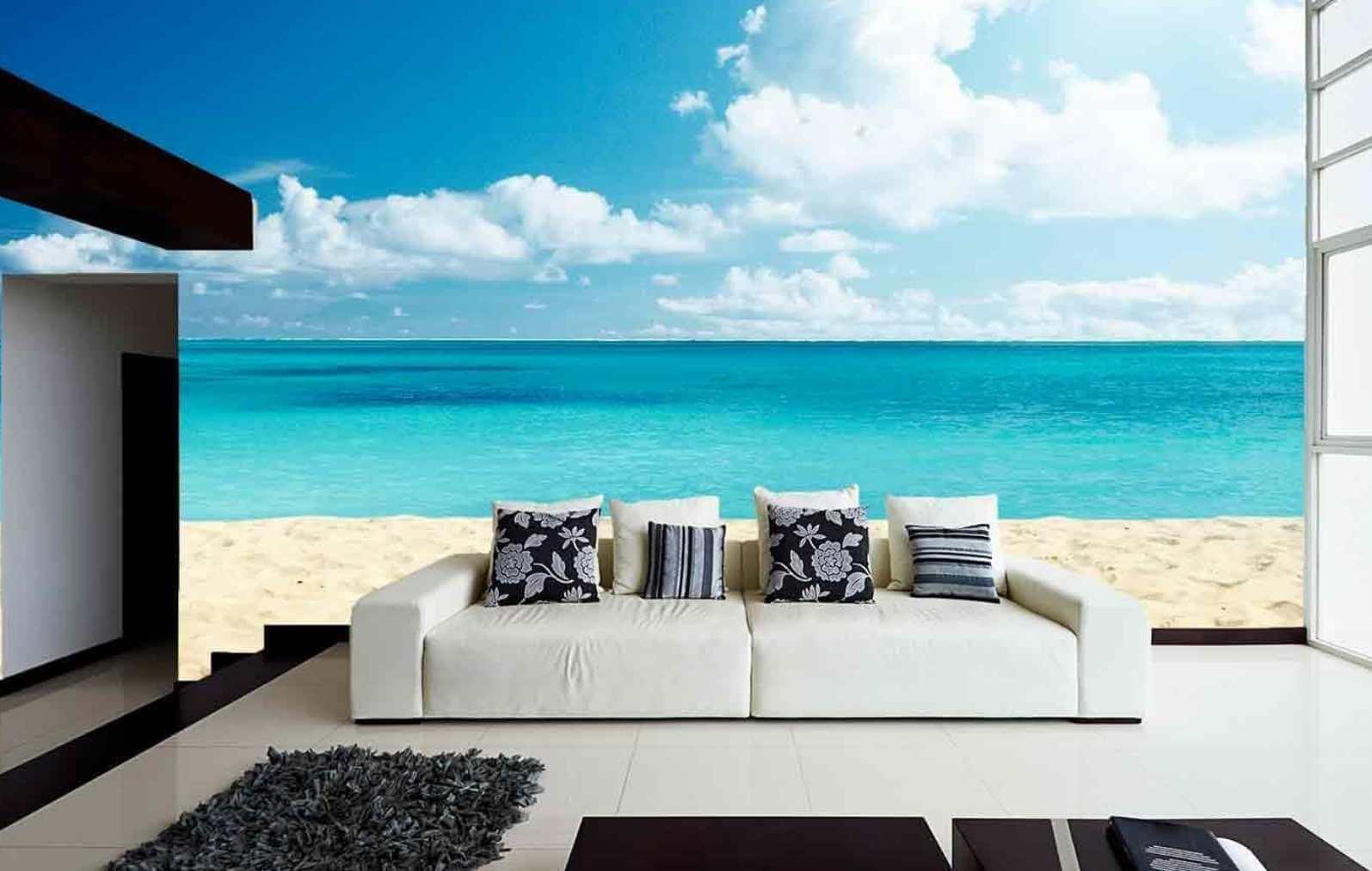 Paredes decoradas con playa