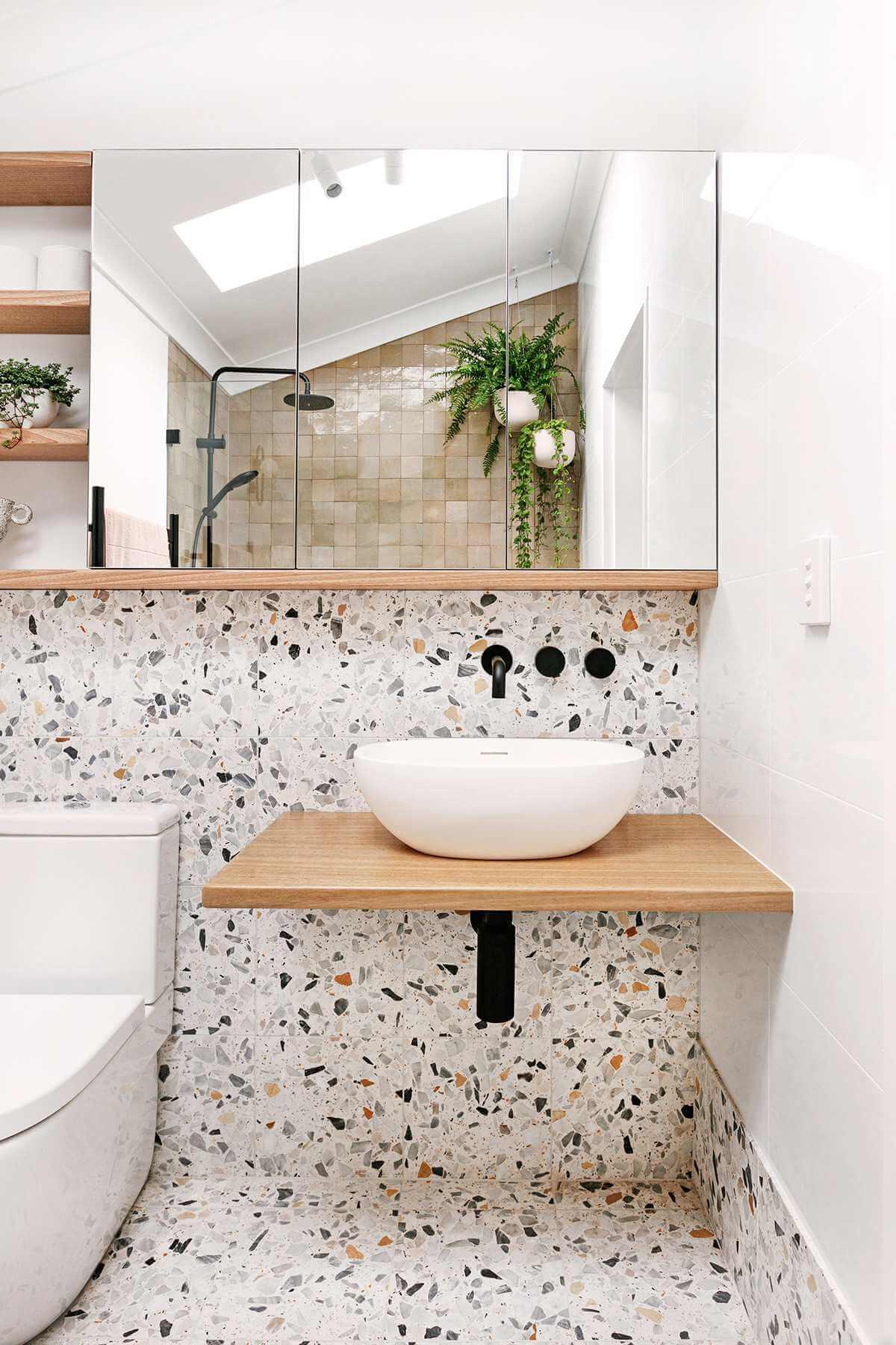 El terrazo en el baño