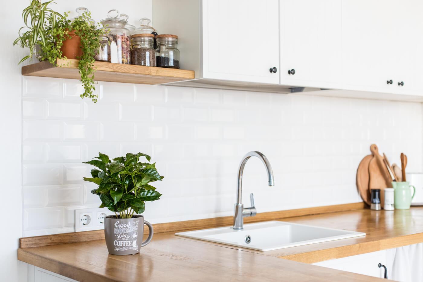 Cocinas blancas y con madera