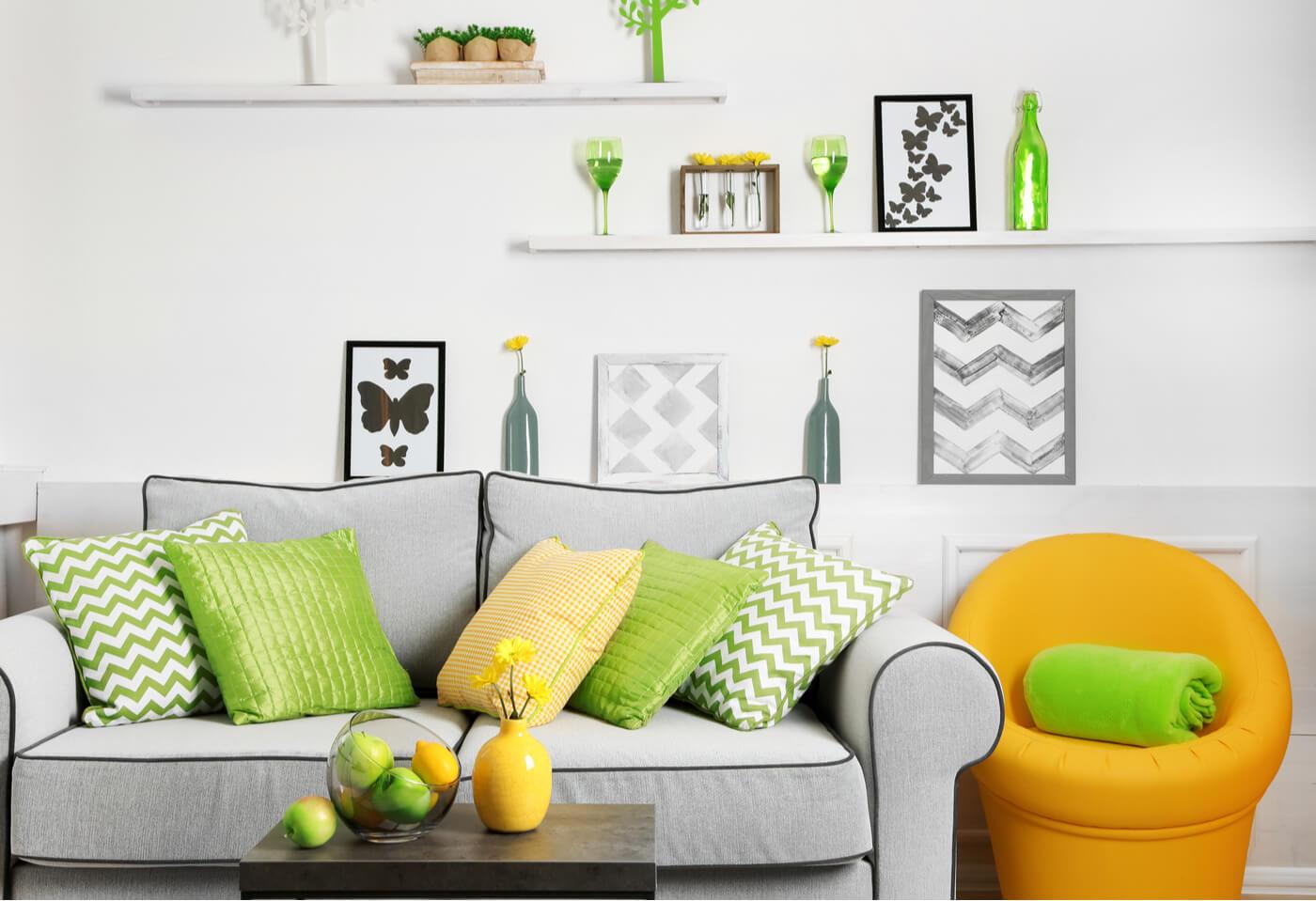 Relación entre el verde y el amarillo para decorar los interiores