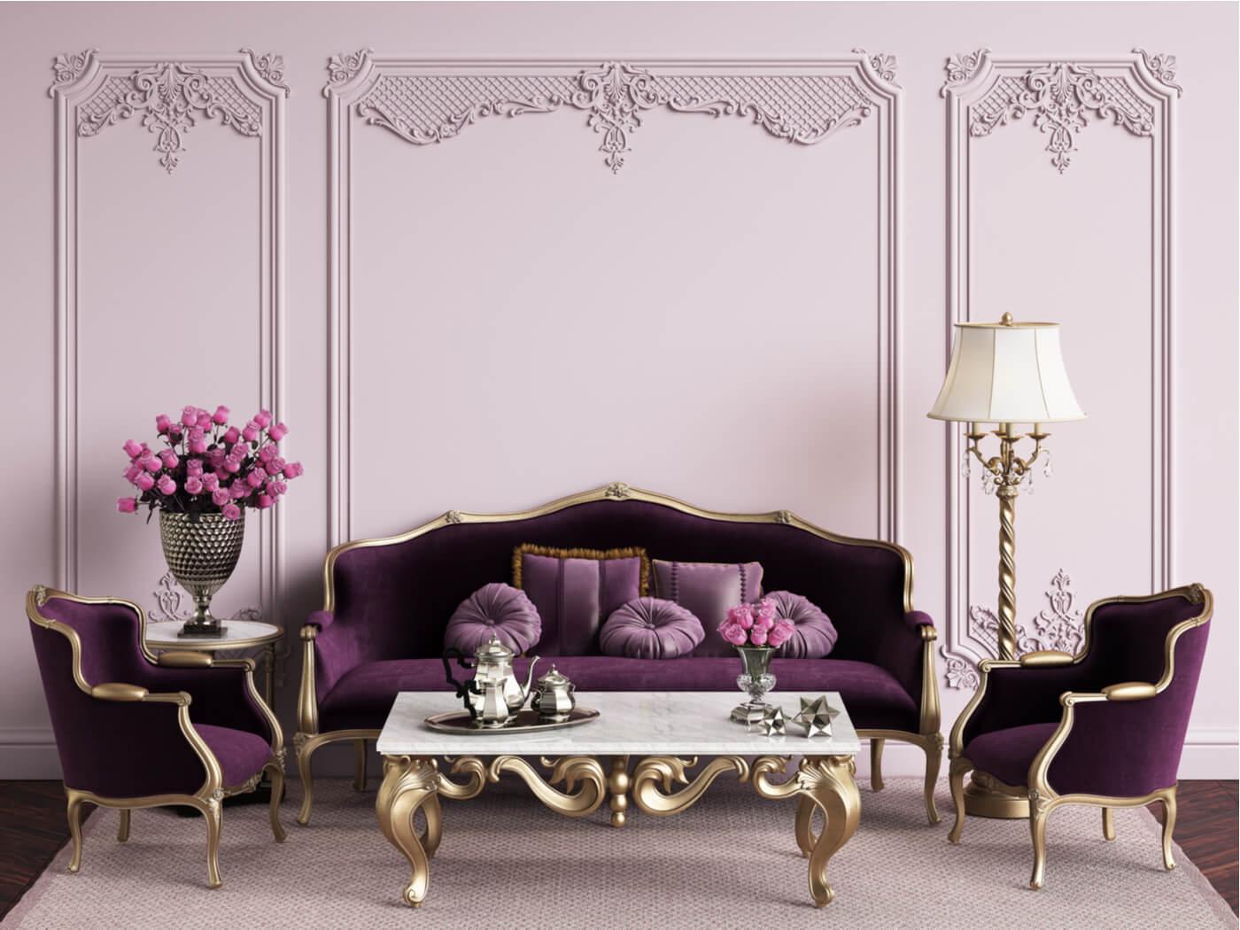 Salón con estilo transicional