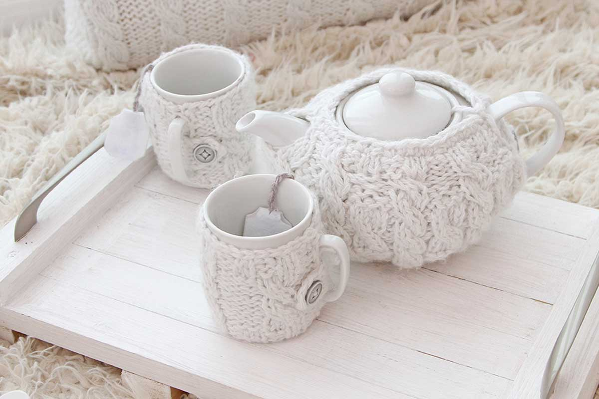 Tea sets with covers.