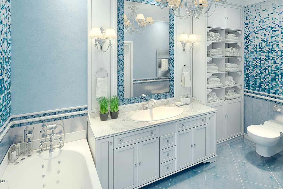 Paint the bathroom light blue.