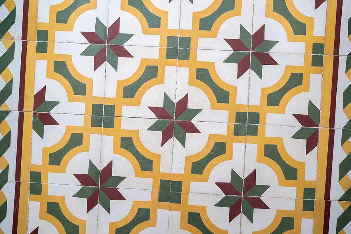 Hydraulic tiles.