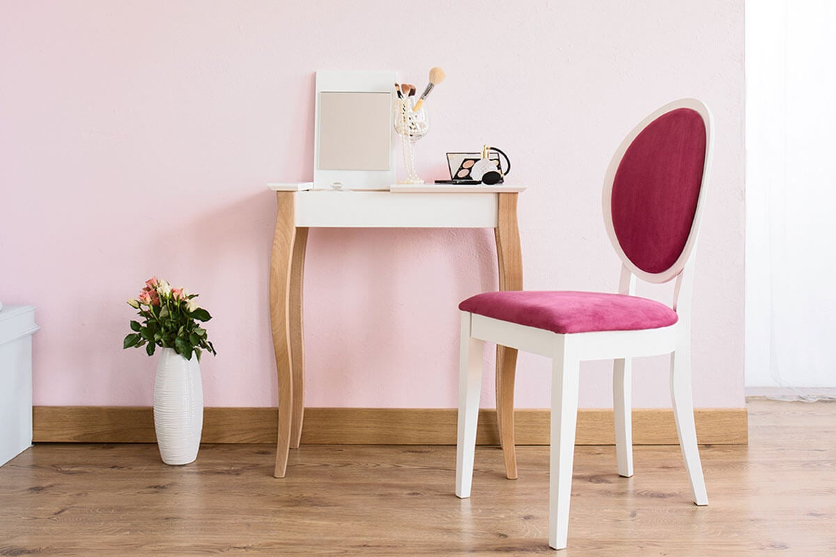 There are several chair options for that vanity corner.