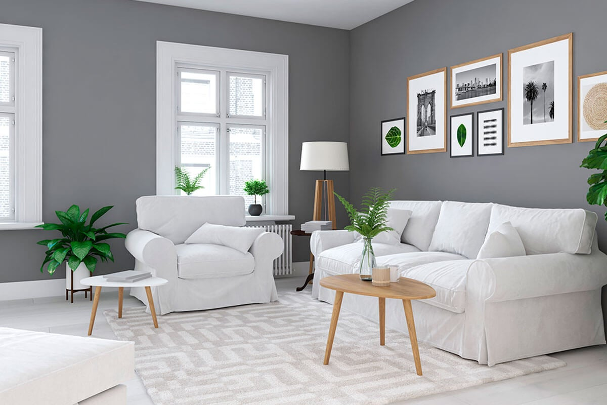 Gray and white living room.