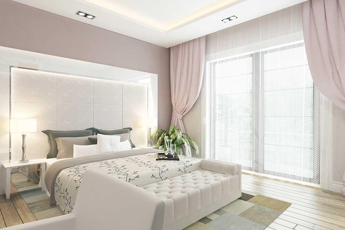 Lilac bedroom.