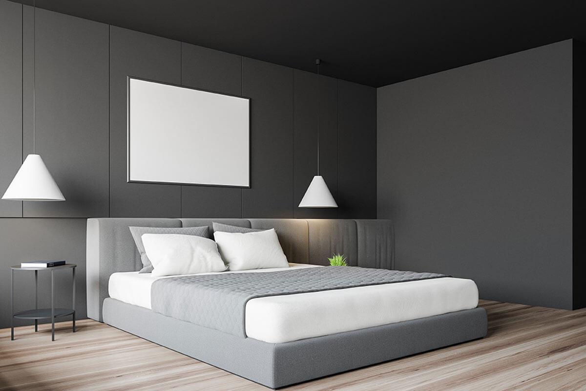 Bedroom in gray tones.