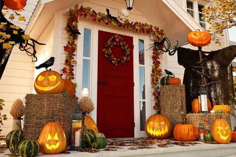 Decoración con calabazas para Halloween