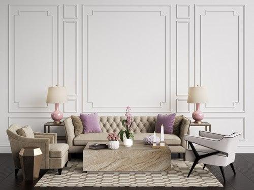 Salotto in tonalità di bianco