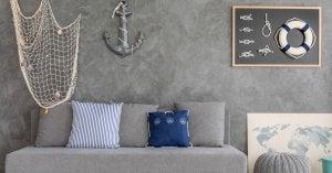 Decorazione in stile Marinaro in grigio e blu