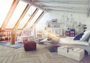 Camera da letto in un loft