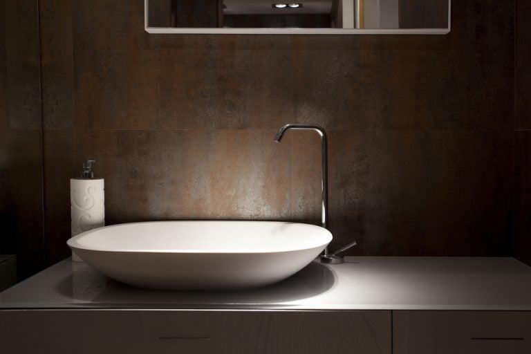 lavabo con consolle ceramica stile minimalista