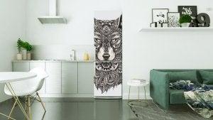 Motivo di animali in vinile, lupo, per decorare il frigorifero.