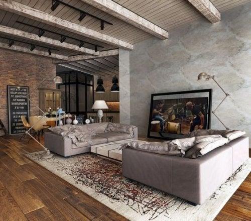 Tappeto per soggiorno con divani