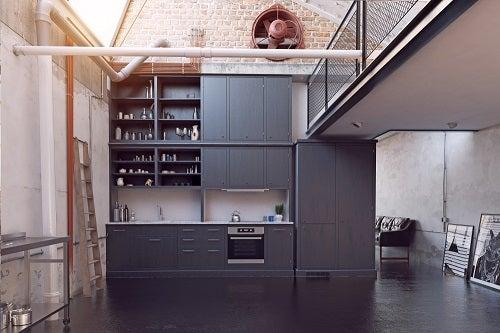 Cucina stile industriale colore grigio