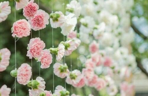 Delle ghirlande di fiori rosa per decorare le finestre senza tende