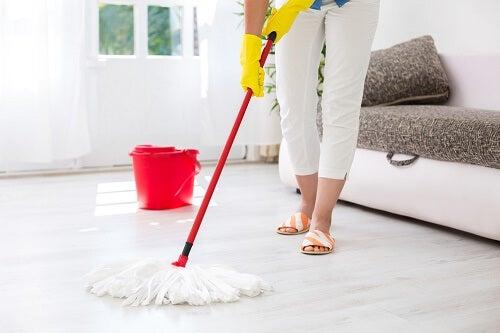 Signora delle pulizie che sa pulire la casa rapidamente