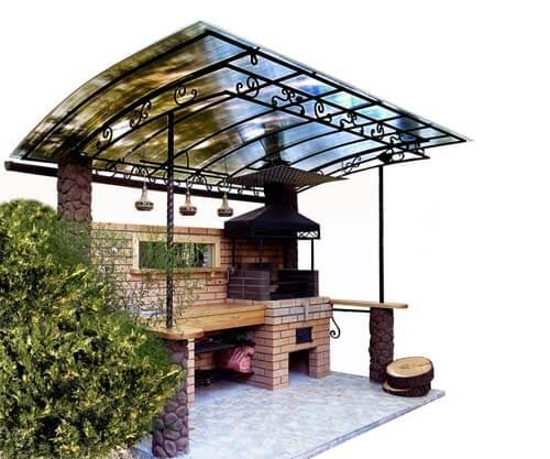 Esempio di barbecue in giardino in muratura