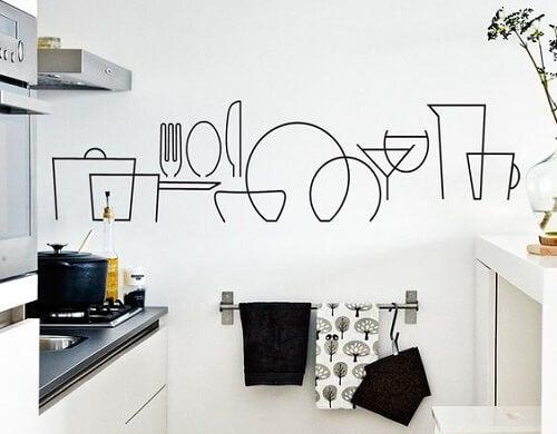 Esempio di parete decorata in cucina