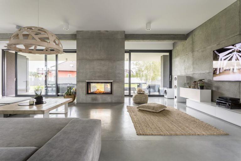 cemento per le pareti del salotto di casa