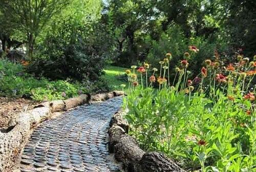 Vialetto in giardino con tronchi
