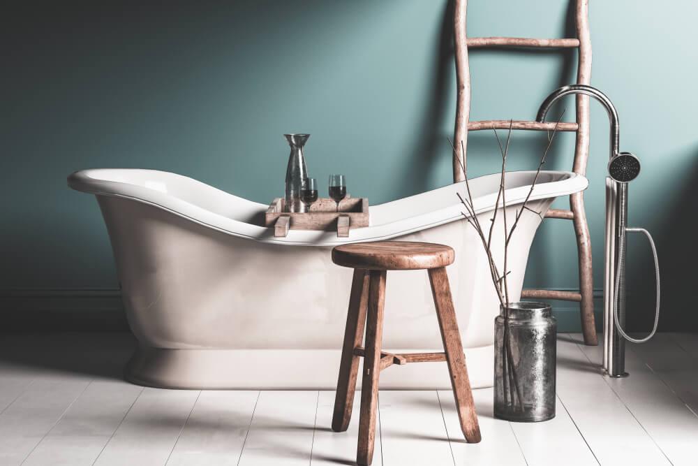 vasche con elementi in legno