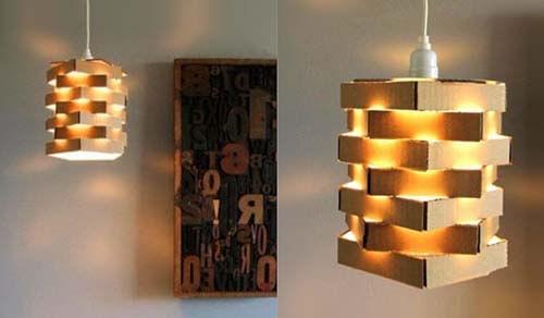 Lampade create con scatole di cartone