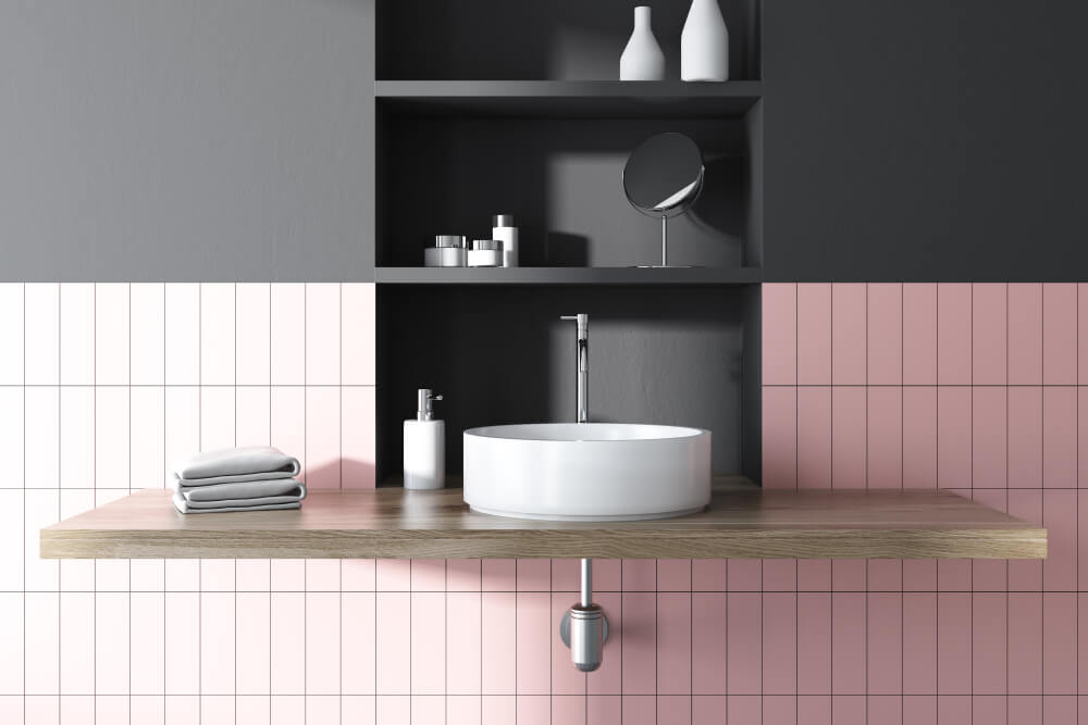 lavabo ovale su consolle di legno