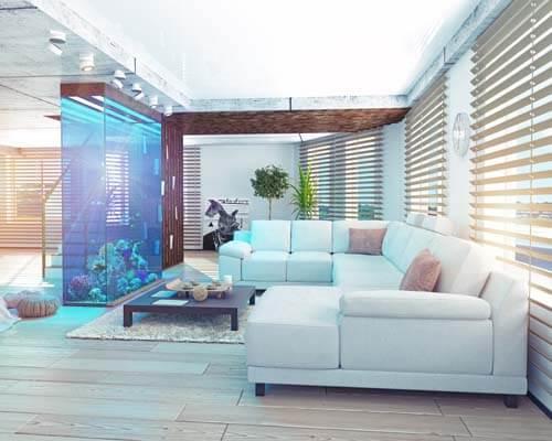 Salotto di lusso con acquario grande