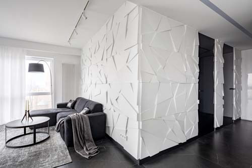 Salotto e ingresso con false pareti