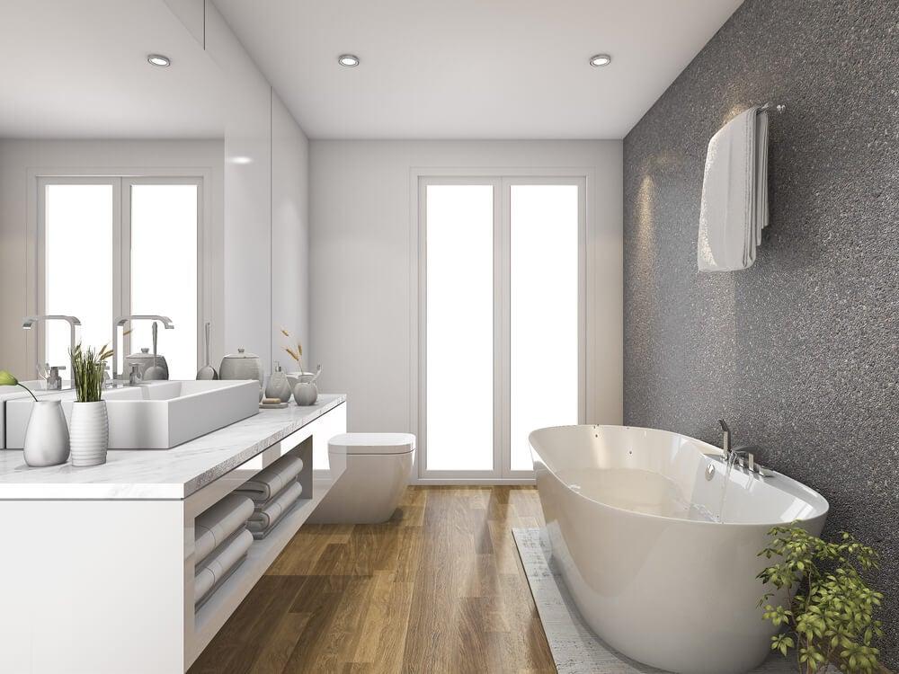 Pavimento di legno in bagno