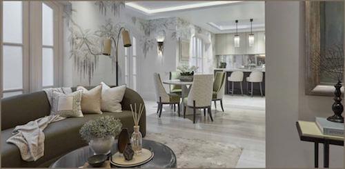 Salone e sala da pranzo in stile rustico elegante