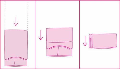 tecnica per piegare i vestiti come le buste