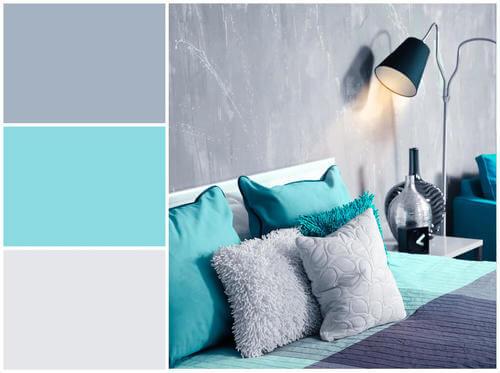 Camera da letto grigio turchese