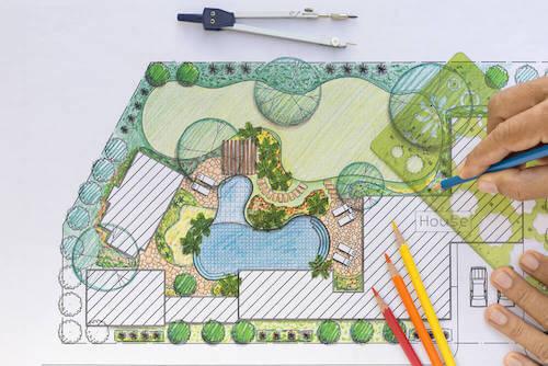 Disegno di un progetto per il giardino