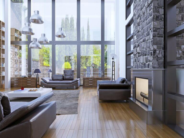 Vetrate in loft moderno ed elegante