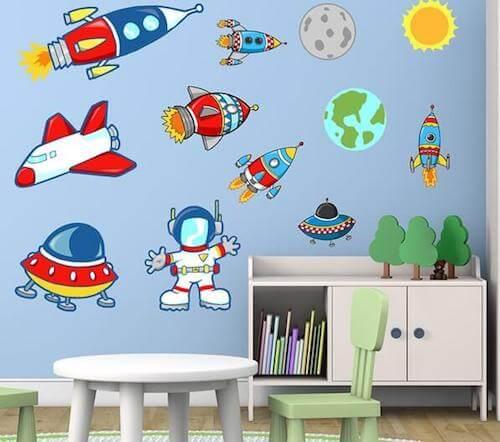 adesivi in vinile da parete con personaggi dei viaggi spaziali