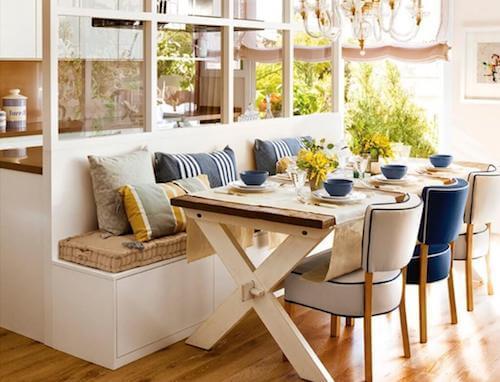 Panche tavola apparecchiata e sedie