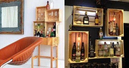 Mobili bar costruiti con cassette di legno