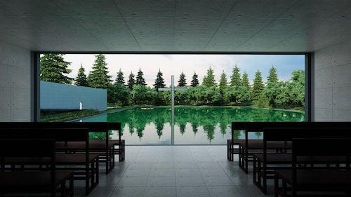 Interno cappella sull'acqua di Tadao Ando