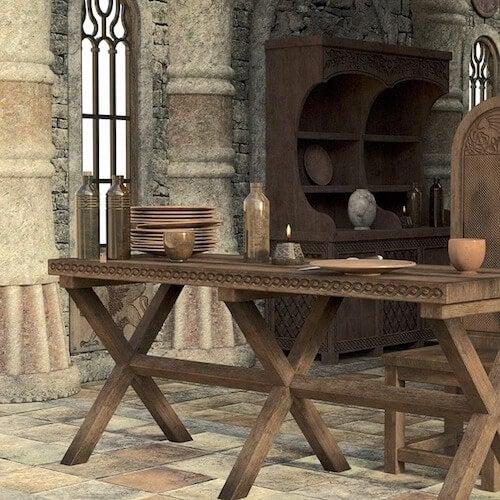 tavolo sedia e stoviglie in stile medioevale