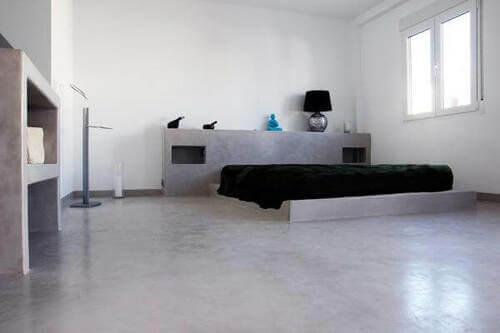 Camera da letto microcemento