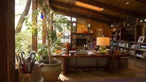 salotto vetrata tetto in legno